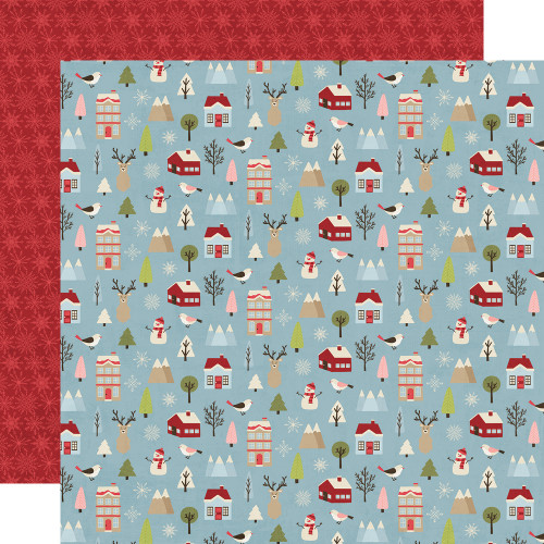 Holly Jolly Collection Winter Wonderland 12 x 12 Double-Sided Scrapbook Paper by Simple Stories