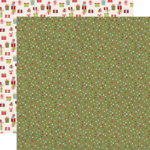 Holly Jolly Collection Season's Greetings 12 x 12 Double-Sided Scrapbook Paper by Simple Stories