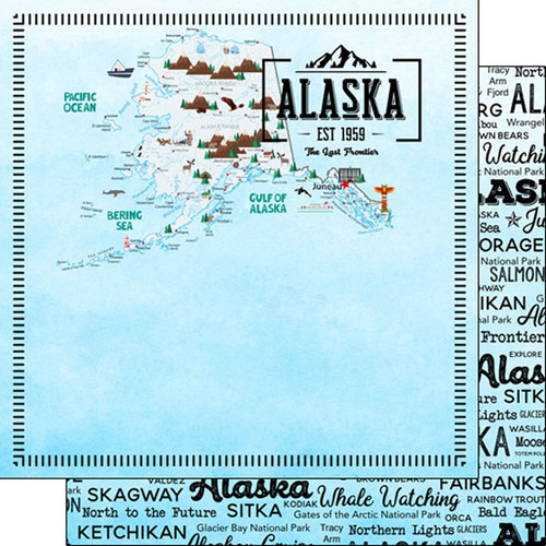 Postage Map Collection Alaska 12 x 12 Scrapbook Paper by Scrapbook Customs