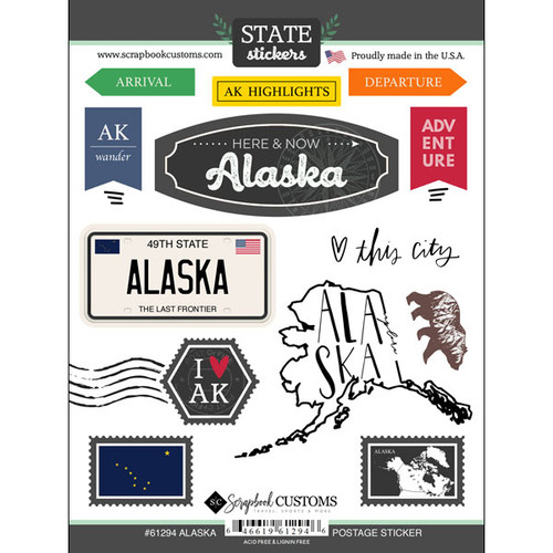 Postage Map Collection Alaska 6 x 8 Scrapbook Sticker Sheet by Scrapbook Customs