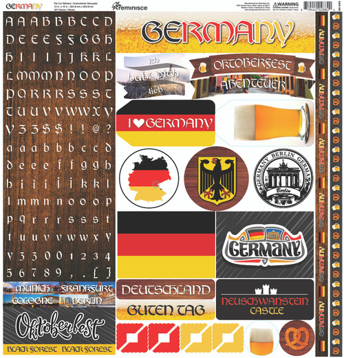 Germany Collection 12 x 12 Cardstock Scrapbook Sticker Sheet by Reminisce