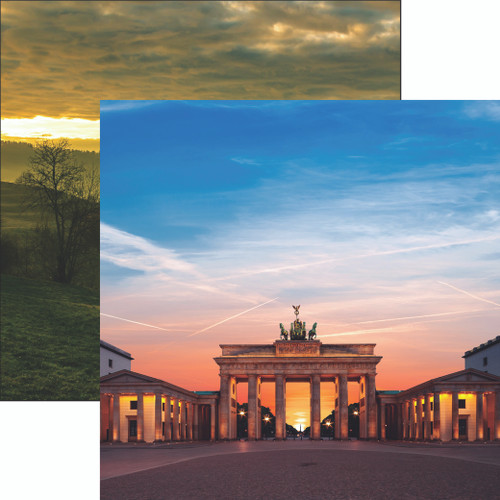 Germany Collection Brandenburg Gate 12 x 12 Double-Sided Scrapbook Paper by Reminisce