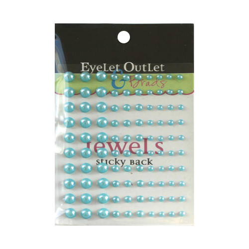 Our Brads Need Friends Collection Teal Multi-Sized Self-Adhesive Pearls by Eyelet Outlet - 100  Pearls