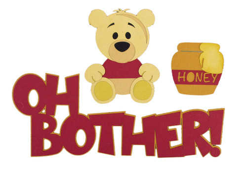 Disneyana Oh Bother! Pooh & Honey Title & Accessories Fully-Assembled Laser Cut Scrapbook Embellishments by SSC Laser Designs