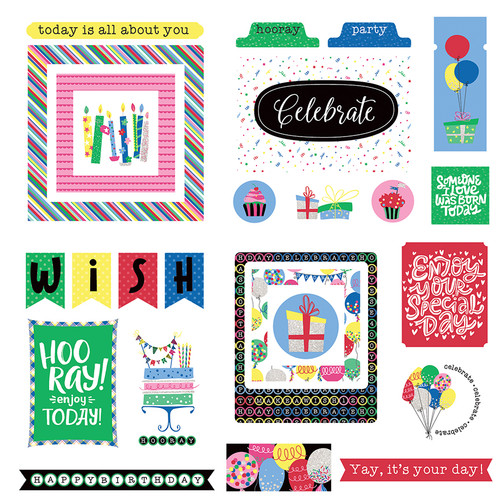 Confetti Collection 5 x 5 Birthday Cardstock Ephemera Die Cuts by Photo Play Paper