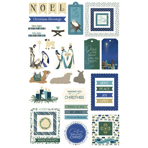 One Night In Bethlehem Collection 5 x 5 Cardstock Ephemera Scrapbook Die Cuts by Photo Play Paper