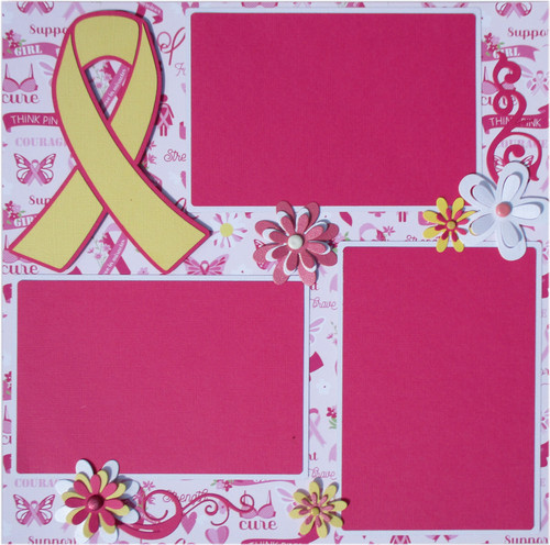 Operation: Save 2nd Base Breast Cancer Awareness 2- 12 x 12 Page Fully-Assembled & Hand-Embellished 3D Scrapbook Layouts by SSC Designs