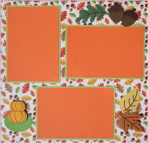 Playing In The Leaves 12 x 12 Pages, Fully-Assembled & Hand-Embellished 3D Scrapbook Layout by SSC Designs