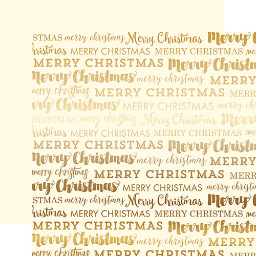 Foil Collection Cream Merry Christmas 12 x 12 Gold Foiled Felt Scrapbook Paper by Carta Bella