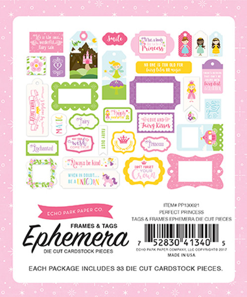 Perfect Princess Collection 5 x 5 Frames & Tags Ephemera Die Cut Cardstock Pieces by Echo Park Paper - 33 Pieces