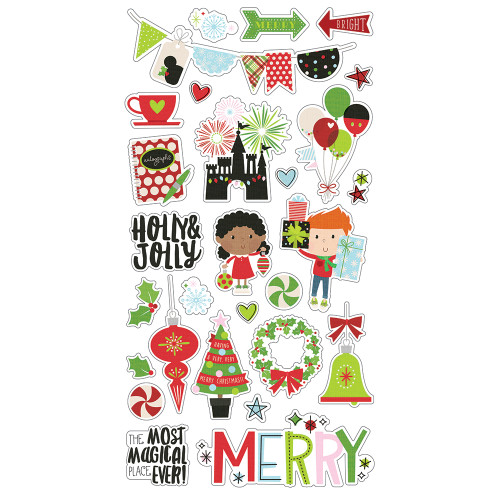 Say Cheese Christmas Collection 6 x 12 Chipboard Scrapbook Sticker Sheet by Simple Stories