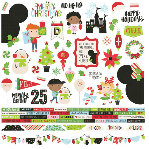 Say Cheese Christmas Collection 12 x 12 Combo Cardstock Scrapbook Sticker Sheet by Simple Stories