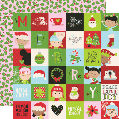 Say Cheese Christmas 2 x 2 Elements 12 x 12 Double-Sided Scrapbook Paper by Simple Stories