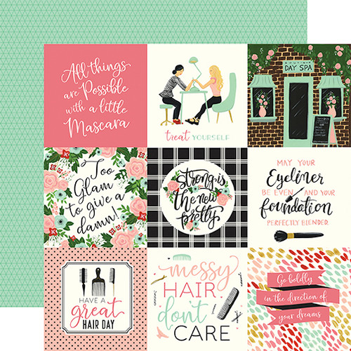 Salon Collection 4 x 4 Journaling Cards 12 x 12 Double-Sided Scrapbook Paper by Echo Park Paper
