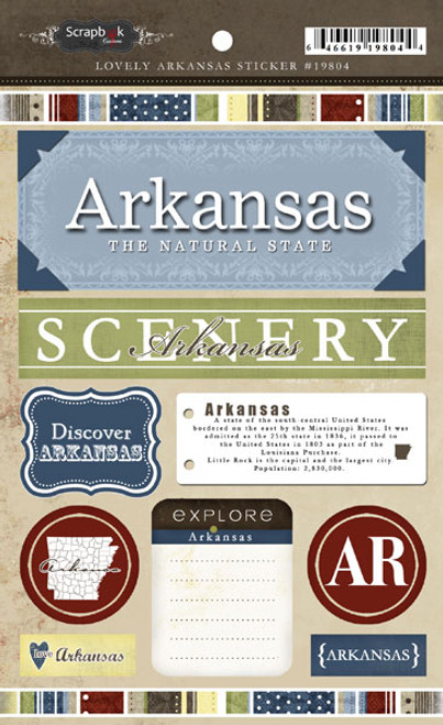 Lovely Travel Collection Arkansas 5.5 x 8 Sticker Sheet by Scrapbook Customs