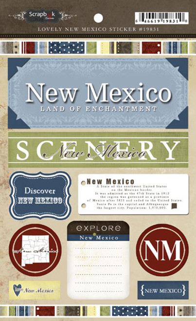 Lovely Travel Collection New Mexico 5.5 x 8 Sticker Sheet by Scrapbook Customs