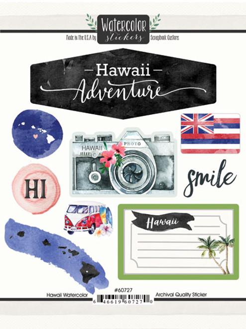 Watercolor Collection Hawaii 6 x 8 Scrapbook Sticker Sheet by Scrapbook Customs