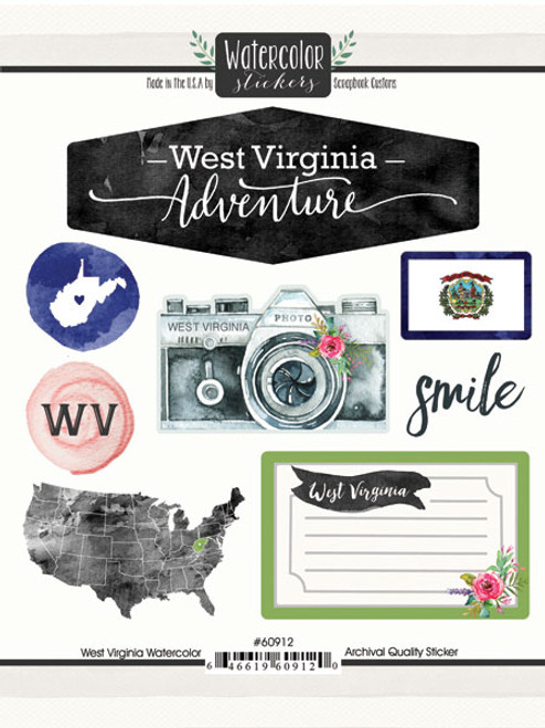 Watercolor Collection West Virginia 6 x 8 Scrapbook Sticker Sheet by Scrapbook Customs