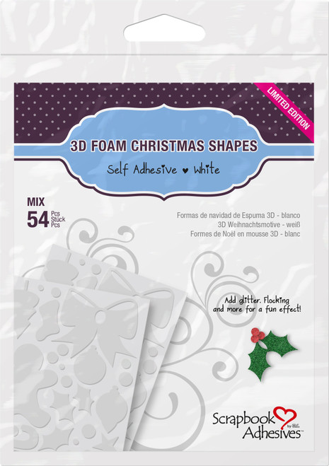 3D Self-Adhesive Foam Christmas Shapes by Scrapbook Adhesives - Pkg. of 54