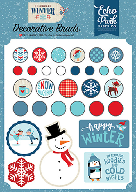 Celebrate Winter Collection  6 x 8 Decorative Scrapbook Brads & Chipboard Shapes by Echo Park Paper