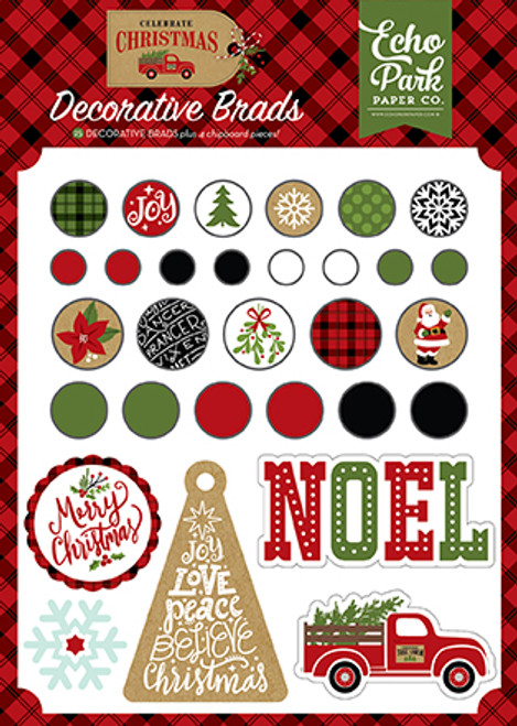 Celebrate Christmas Collection  6 x 8 Decorative Scrapbook Brads & Chipboard Shapes by Echo Park Paper