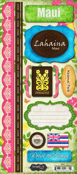Paradise Collection Maui 6 x 12 Cardstock Sticker Sheet by Scrapbook Customs