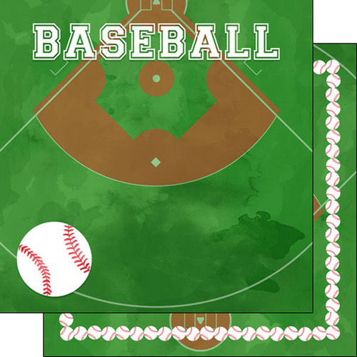 Watercolor Sports Collection Baseball 12 x 12 Double-Sided Scrapbook  Paper by Scrapbook Customs