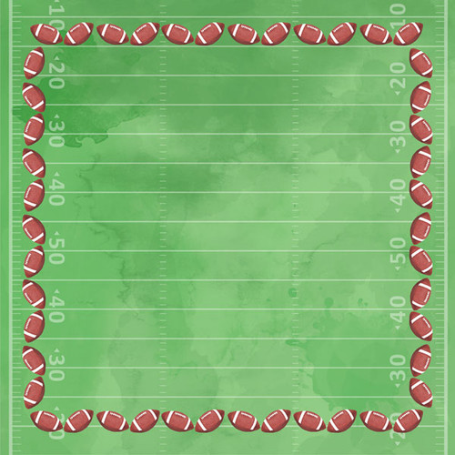 Watercolor Sports Collection Football 12 x 12 Double-Sided Scrapbook Paper by Scrapbook Customs