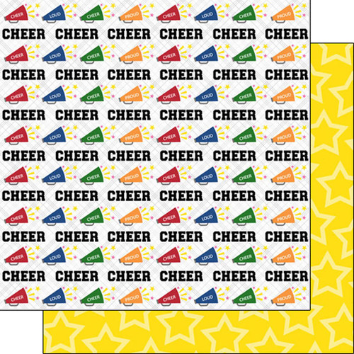 Sports Life Collection Cheer Life Megaphone 12 x 12 Double-Sided Scrapbook Paper by Scrapbook Customs