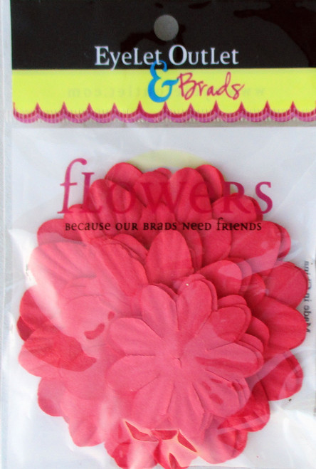 "1.5"", 2"", 2.5"" Real Red Scrapbook Flowers by Eyelet Outlet - 40 Pieces"