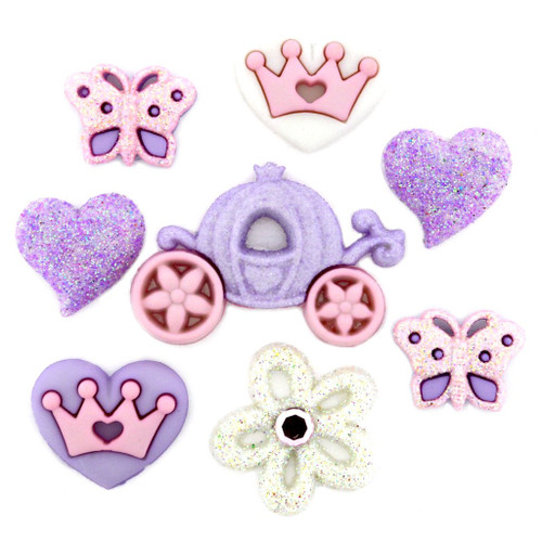 Dress It Up Collection Our Princess Glitter Scrapbook Buttons by Jesse James
