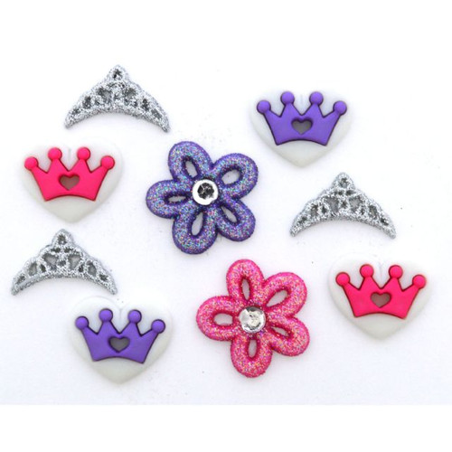 Dress It Up Collection Princess Crown Tiara Glitter Scrapbook Buttons by Jesse James