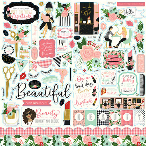 Salon Collection 12 x 12 Element Scrapbook Sticker Sheet by Echo Park Paper