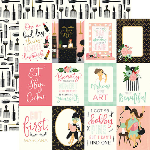 Salon Collection 3 x 4 Journaling Cards 12 x 12 Double-Sided Scrapbook Paper by Echo Park Paper