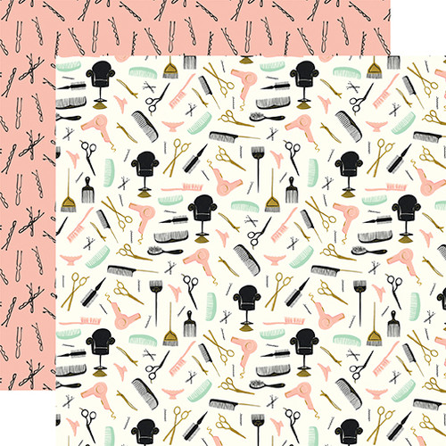 Salon Collection Hair Appointment 12 x 12 Double-Sided Scrapbook Paper by Echo Park Paper