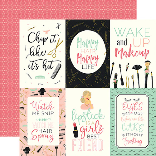 Salon Collection 4 x 6 Journaling Cards 12 x 12 Double-Sided Scrapbook Paper by Echo Park Paper