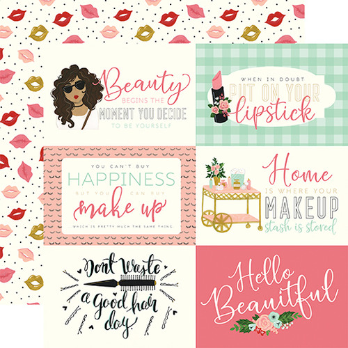 Salon Collection 6 x 4 Journaling Cards 12 x 12 Double-Sided Scrapbook Paper by Echo Park Paper