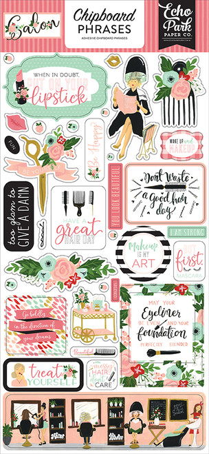 Salon Collection 6 x 12 Adhesive Chipboard Scrapbook Phrases by Echo Park Paper