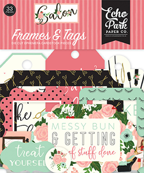 Salon Collection 5 x 5 Frames & Tags Scrapbook Die Cut Ephemera Cardstock Pieces by Echo Park Paper - 33 Pieces