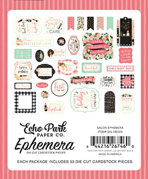 Salon Collection 5 x 5 Scrapbook Ephemera Die Cut Cardstock Pieces by Echo Park Paper - 33 Pieces