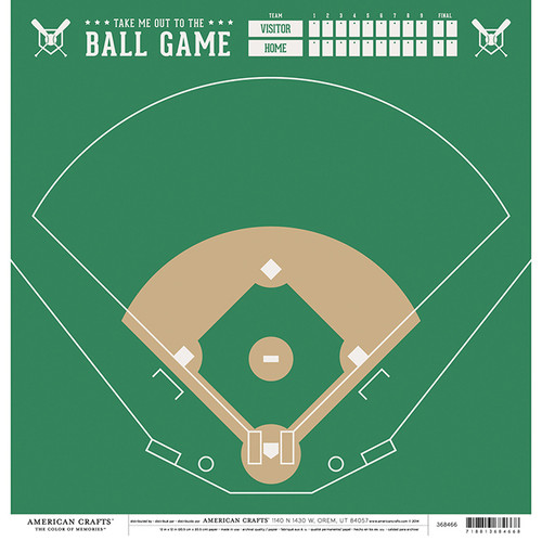 Color of Memories Collection Baseball Field 12 x 12 Double-Sided Scrapbook Paper by American Crafts