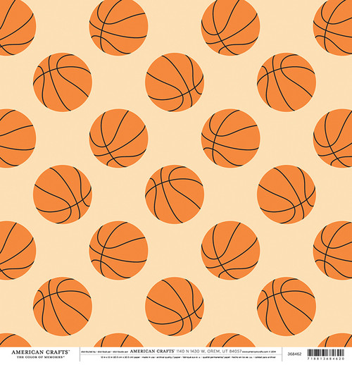 Color of Memories Collection Basketballs 12 x 12 Double-Sided Scrapbook Paper by American Crafts