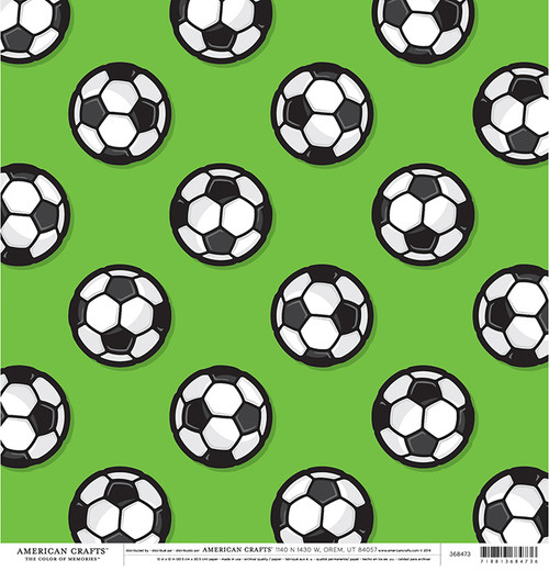 Color of Memories Collection Soccer Balls 12 x 12 Double-Sided Scrapbook Paper by American Crafts