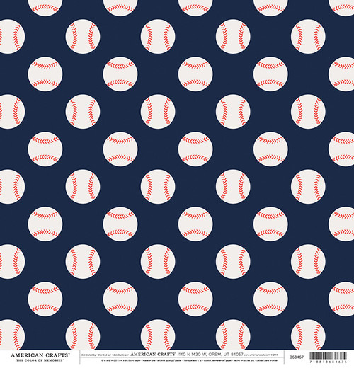 Color of Memories Collection Baseballs 12 x 12 Double-Sided Scrapbook Paper by American Crafts