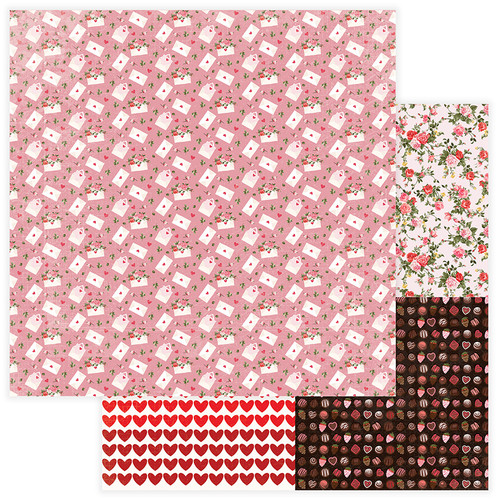 Be Mine Collection Love Letter 12 x 12 Double-Sided Scrapbook Paper by PhotoPlay Paper