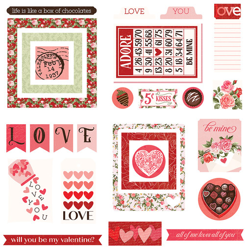 Be Mine Collection Ephemera 5 x 5 Scrapbook Die Cuts by Photo Play Paper
