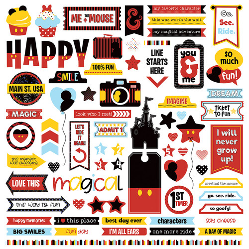 Another Day At The Park Collection 12 x 12 Elements Scrapbook Sticker Sheet by PhotoPlay Paper