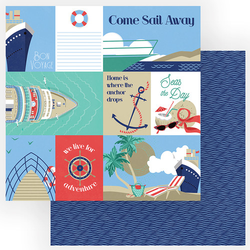 Set Sail Collection Bon Voyage 12 x 12 Double-Sided Scrapbook Paper by PhotoPlay Paper