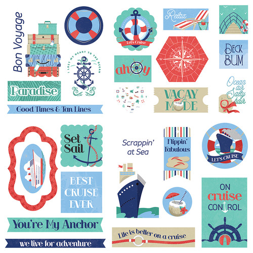 Set Sail Collection Ephemera 5 x 5 Scrapbook Die Cuts by Photo Play Paper