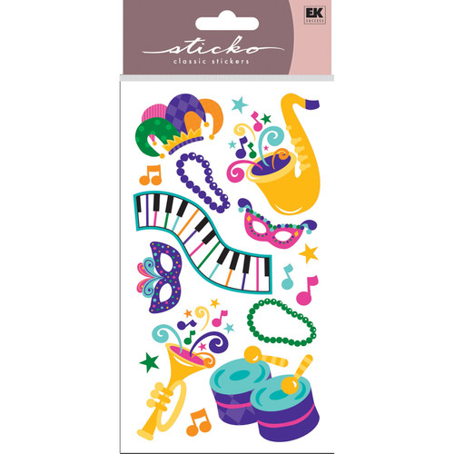 Mardi Gras 4 x 7 Dimensional Scrapbook Sticker by Sticko